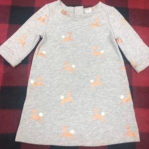 Baby Gap super cute gold reindeer dress EUC Sz 2